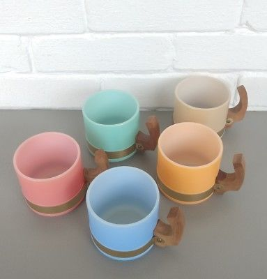 Vintage Siesta Ware Pink/Aqua/Blue/Orange/Tan Wood Handle Mugs Stackable