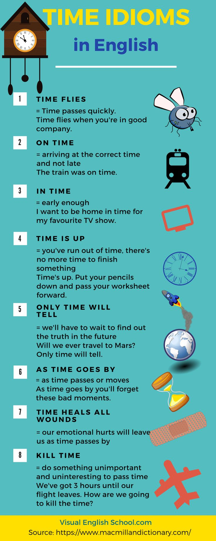 Learn time expressions (time idioms) in English with this infographic. Click on the article to read the full lesson. It was inspired by an Oscar-nominated short film. Watch it now! #timeidioms, #englishidioms, #englishexpressions