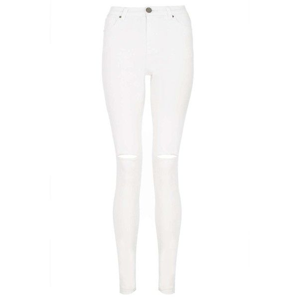 Dorothy Perkins Quiz Knee Rip High Waist Jeans ($25) ❤ liked on Polyvore  featuring - Best 25+ White High Waisted Jeans Ideas On Pinterest White