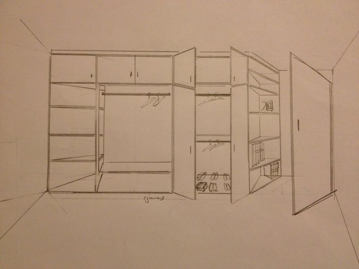 Sketch Design Drawing For Built In Fitted Wardrobe To