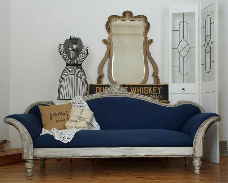 Victorian Sofa Makeover Navy Upholstery Weathered Grey