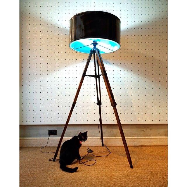 """""""Torre. Re-purposed wooden tripod. #ylayastudio #lampshade #tripod #repurposed"""""""