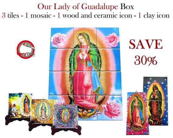 Happy to present a new tiles collection dedicated to the #Virgin of #Guadalupe.  >>> https://www.etsy.com/listing/512801386 <<<  You will receive: - 3 icons on tiles - about cm 10 x 10 - 1 icon on clay tile - about cm 7,5 x 15 - 1 mosaic / tile mural composed by 12 ceramic tiles - about cm 30 x 40 - 1 wood and ceramic icon composed by 2 ceramic tiles - about  cm 10 x 10 You will SAVE 30% on regular price - Shipping by express couriers is free to selected countries.  #virginofguadalupe…