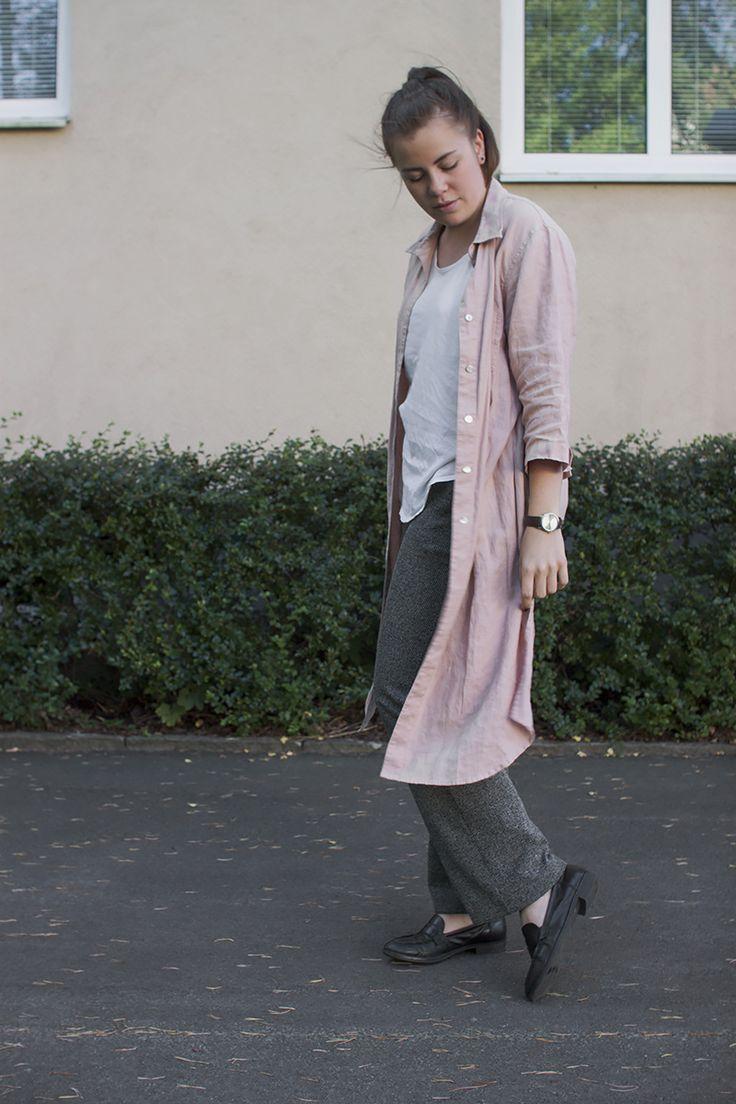 Soft pink and melange grey