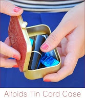 Altoid tin into purse organizer. Mod podge outside, glue mirror on lid and fill with lipstick, hair ties, etc. for gift