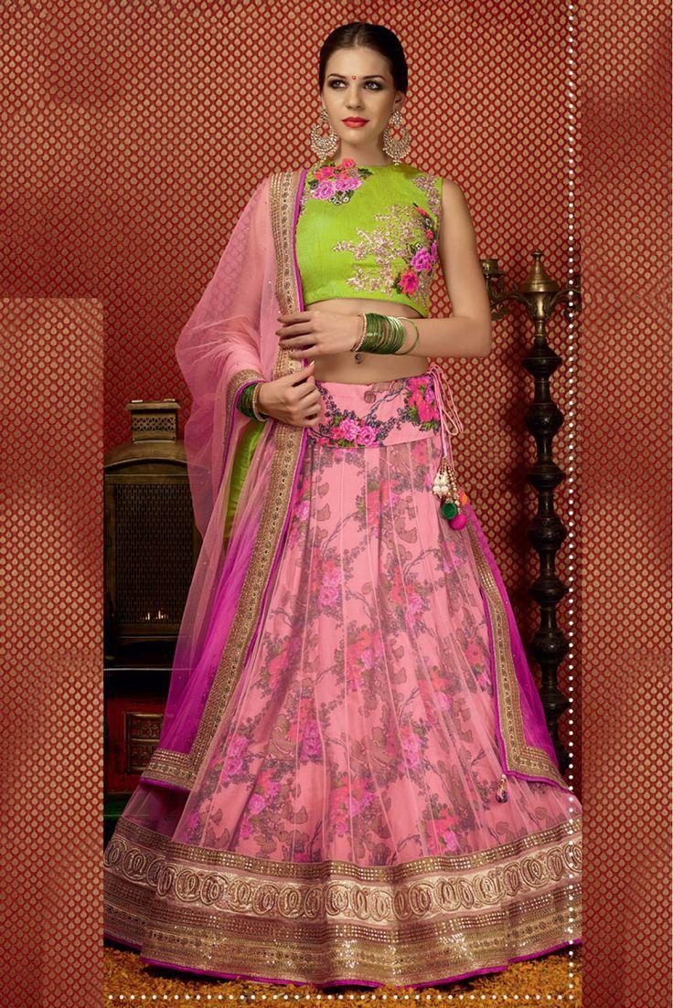 Net Semi Stitched A-Line Lehenga Choli In Baby Pink Colour
