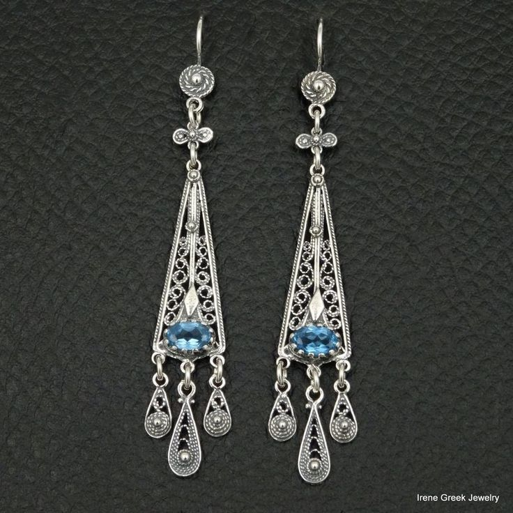 UNIQUE BLUE TOPAZ CZ FILIGREE STYLE 925 STERLING SILVER GREEK HANDMADE EARRINGS #IreneGreekJewelry #DropDangle