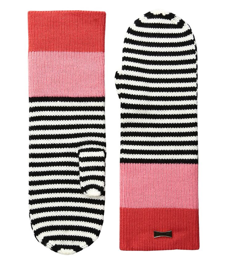 KATE SPADE KATE SPADE NEW YORK - COLOR BLOCK STRIPE MITTEN (PERSIMMON GROVE) EXTREME COLD WEATHER GLOVES. #katespade #