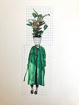 Dominique Schwarzhaupt | Colored pencil on paper. green trench coat street style
