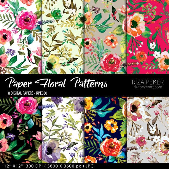 Seamless Floral Patterns  Digital Paper 8 Digital by rizapekerart #seamless #floral #print #pattern #digital #scrapbooking #paper #wallpaper #fashion #design