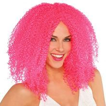 Cool Clown Pink Crimped Wig for a Jester Halloween Costume