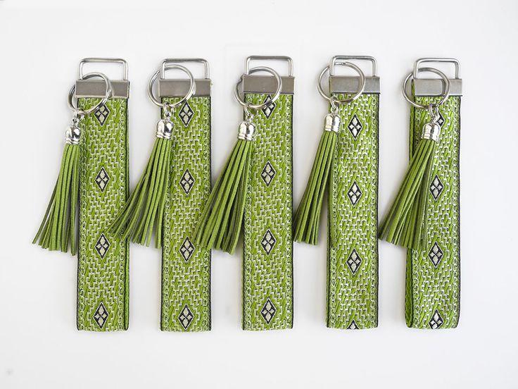 Green Keychain Wristlet Key Chain, Womens Birthday Gift, Tassel Key Fob, Fabric Keyfob, New Home Gift, Housewarming Gift, First Home Gift by LillianRaphaela on Etsy