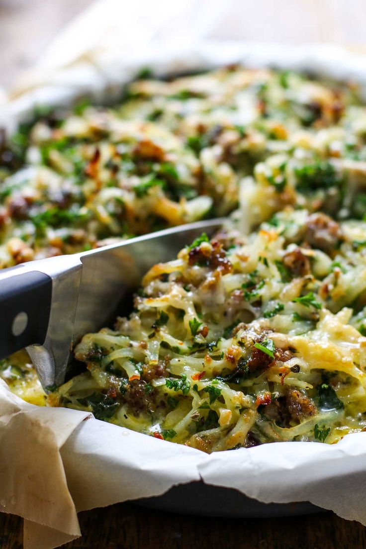 This Six Ingredient Sausage Potato Pie requires hardly any prep and is packed with eggs, Gruyere cheese, sausage, potatoes, and kale.