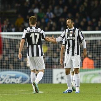 Mirko Vucinic & Nicklas Bendtner, Juventus. | FC Nordsjaelland 1-1 Juventus. 23.10.12