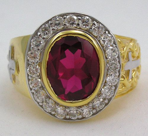 Christian Yellow Gold Ruby Bishop Ring. Handmade cross design christian sterling silver ring jewelry. With big ruby stone and diamond clear stones.