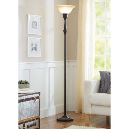 """Better Homes and Gardens 70"""" Restoration Bronze Finish Torchiere Floor Lamp"""