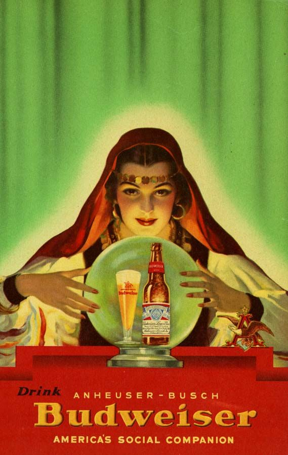 I see a hangover in your future Budweiser 1940s drinks food ad fortune_teller vintage