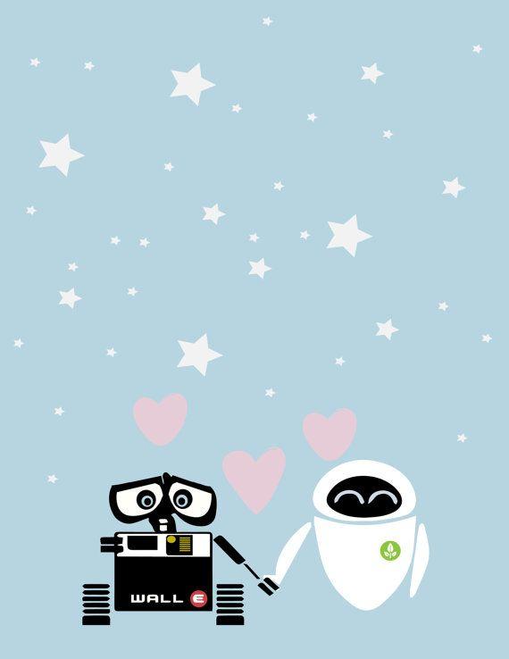 Walle and eve love minimalistic poster.. nursery decor.. romance.. custom wedding date.. personalize.. digital file