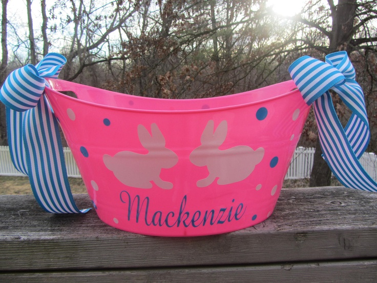 17 best easter basket designs images on pinterest easter bunny personalized oval toy gift or storage tub bucket basket easter basket 1200 negle Images