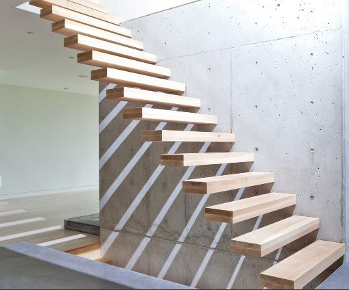 floating wood stairs, metal ribbon handrail - Buscar con Google
