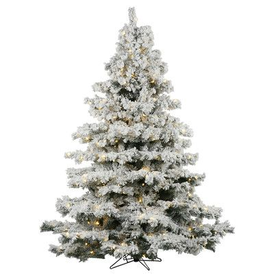 Vickerman Co. Flocked Alaskan 7.5' White Artificial Christmas Tree with 900 Dura-Lit Clear Lights with Stand