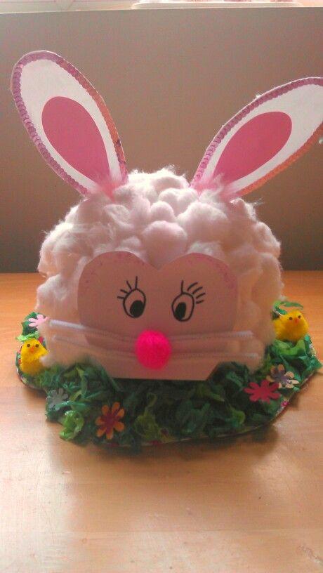 Cotton wool easter bunny bonnet