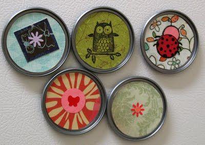 Lid magnets...cute!: Juice Concentration, Fridge Magnets, Frozen Juice, Crafts Ideas, Lids Magnets, Scrapbook Paper, Juice Lids, Recycled Juice, Jars Lids