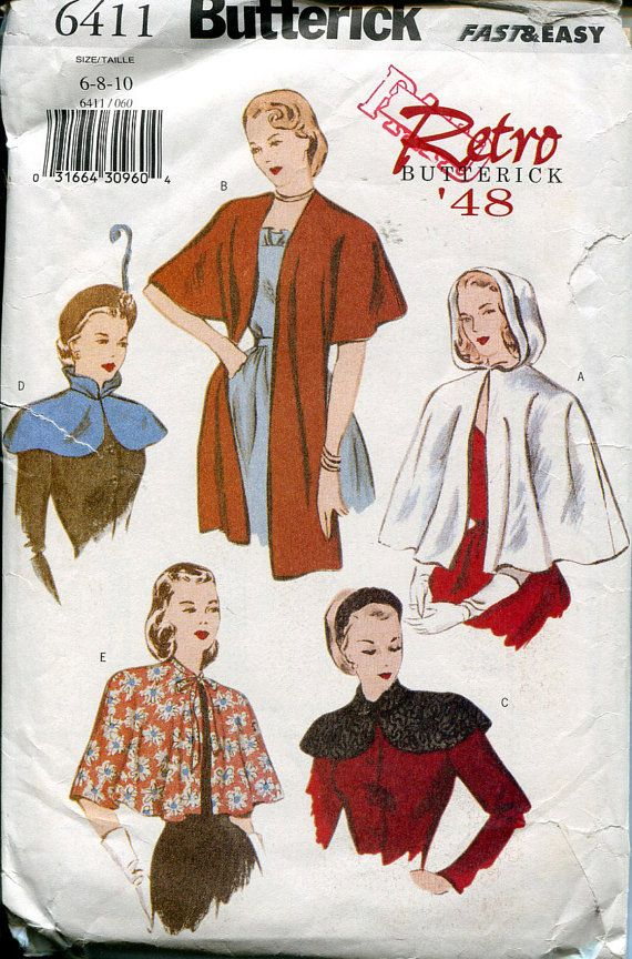 Butterick 6411 Retro \'48 Vintage Cape Wrap Sewing Pattern B30 32 34 ...