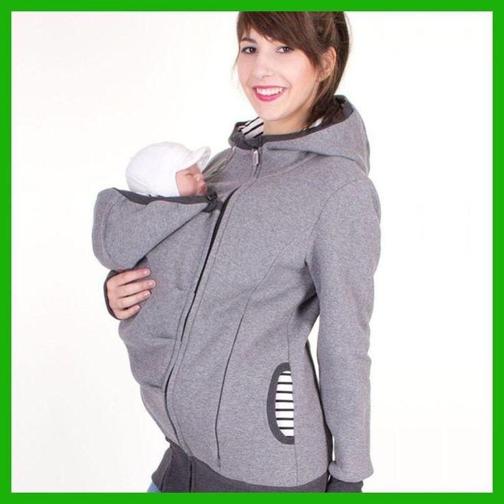 fashion style long sleeve maternity warm clothing mother autumn winter women hoddies carry baby infant sweatshirt zipper coat