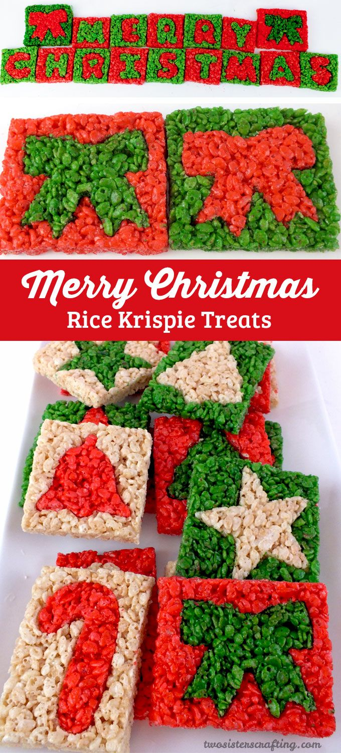 Merry Christmas Rice Krispie Treats - We used Christmas Cookie Cutters to make these adorable and yummy Christmas Treats. It'is a colorful and festive Christmas Dessert that everyone will love. Follow us for more great Christmas Food ideas.