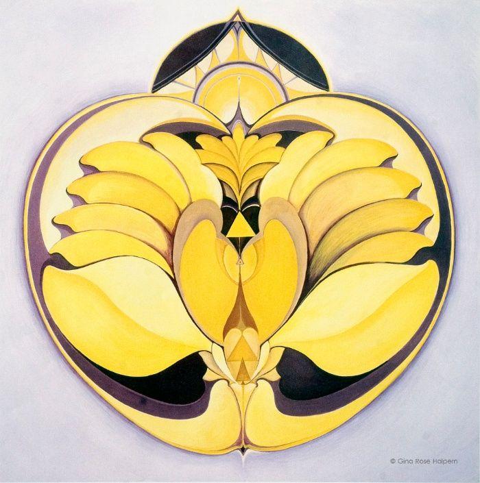 Black Circleart: Yellow Art Print By Gina Rose
