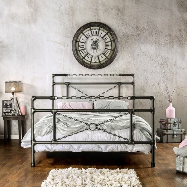 Furniture of America Porteno Industrial Brushed Silver Platform Bed