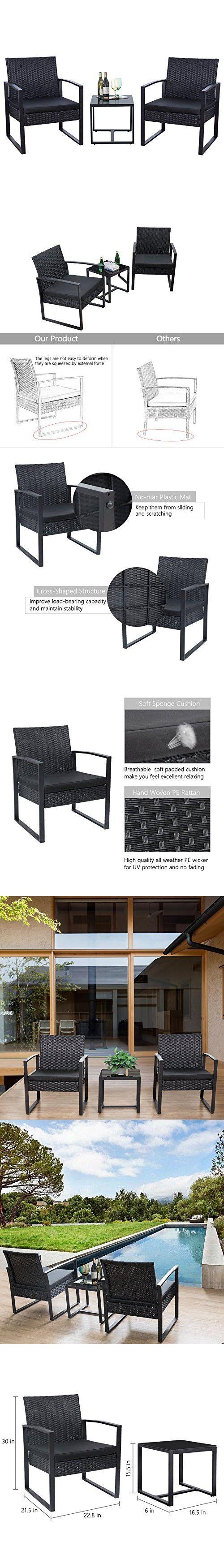 Best Flamaker 3 Pieces Patio Furniture Set Modern Outdoor 400 x 300