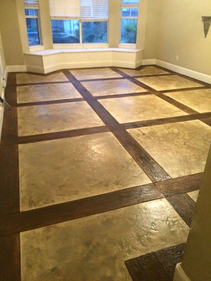 Concrete Scored And Stained To Look Like Wood And Tile