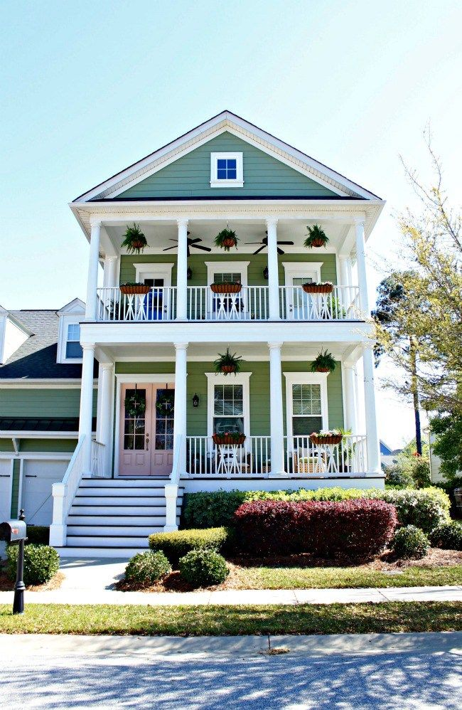 Sherwin Williams Charleston Green & Rachel Pink Front Door - Spring Front Porch Tour - Our Fifth House