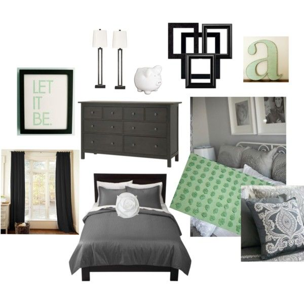 Black white gray and mint green bedroom maybe