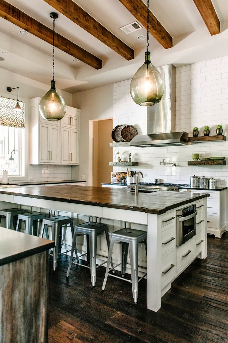 rustic modernDecor, Ideas, Kitchens Design, Expo Beams, Subway Tile, Islands, House, White Cabinets, Transitional Kitchen