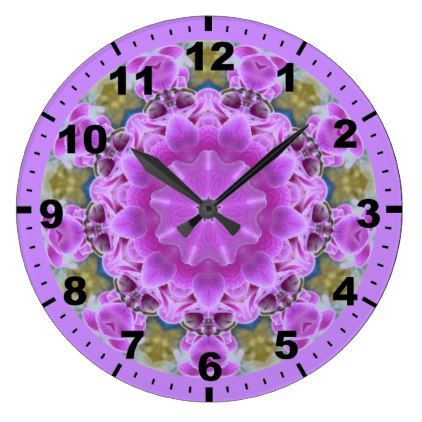 Long Stemmed Purple Orchids Fractal  Large Clock - birthday gifts party celebration custom gift ideas diy