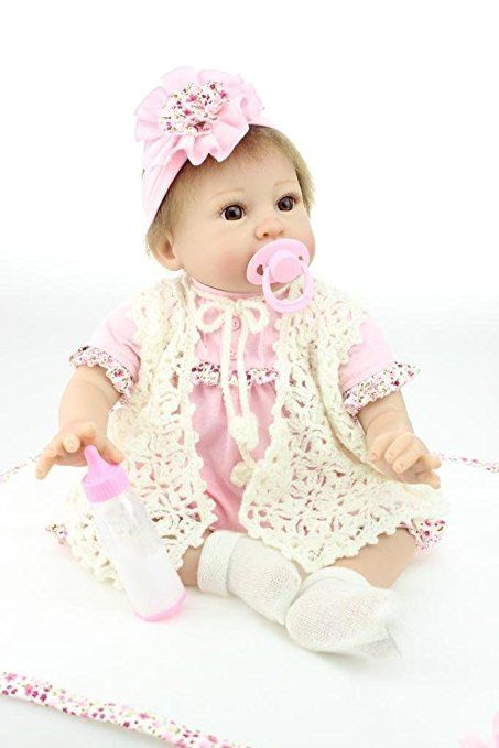 Nicery Morbido Silicone Bambola Reborn Bambino 22inch 55 Centimetri Magnetica Bocca Bella Realistica Sveglia Ragazzo Ragazza Giocattolo Big Eye Rosa Bianco Baby Doll A3IT