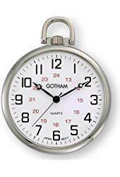 Готэм Мужская Silver-Tone Ultra Thin Railroad Open Face кварцевые карманные часы # GWC15026S
