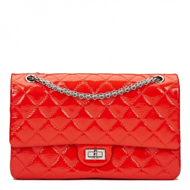 CHANEL Coral Orange Quilted Patent Leather 2.55 Reissue 226 Double Flap Bag This CHANEL 2.55 Reissue 226 Double Flap Bag is in Excellent Pre-Owned Condition accompanied by Chanel Dust Bag, Box, Authenticity Card. Circa 2011. Primarily made from Patent Leather complimented by Silver hardware.  #Ad