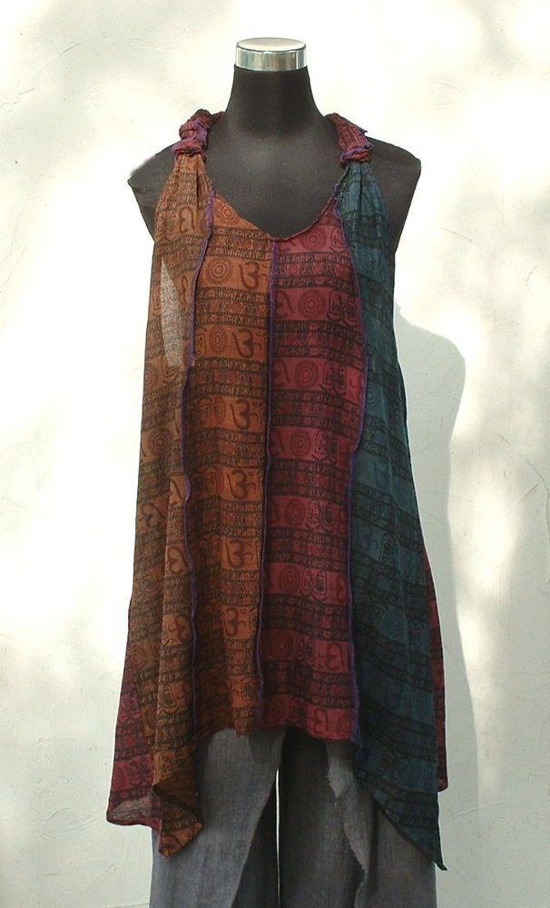 ♥ Patchwork Tunika ♥ Nepal Lagenlook Hängerchen Überkleid Goa Hippie Ethno