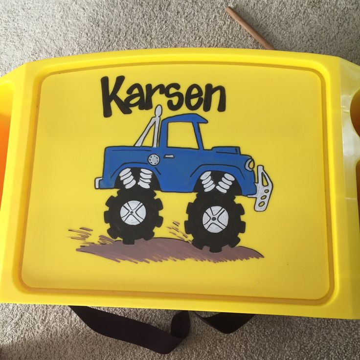 A personal favorite from my Etsy shop https://www.etsy.com/listing/257815886/personalized-monster-truck-lap-tray
