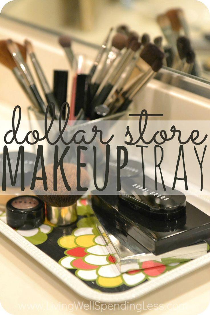 DIY Dollar Store Makeup Tray Makeup storage, Craft