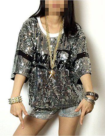 Angcoco Womens Fashion Sequins Paillette Sparkle Glitter Hip-hop Tank Top Shirt