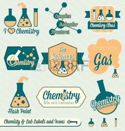 Vector Set: Vintage Chemistry Class Labels and Icons