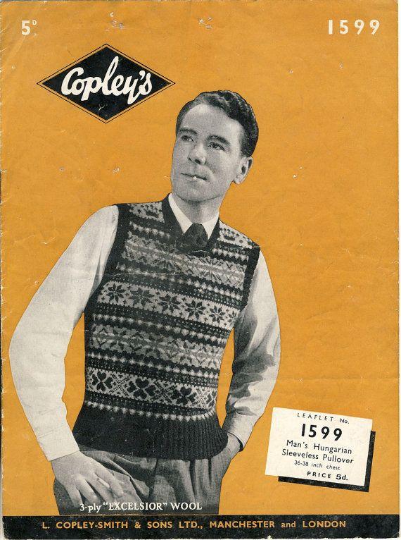 (SOLD) 1940s Men's Fair Isle Pullover Knitting Pattern by PatternaliaVintage