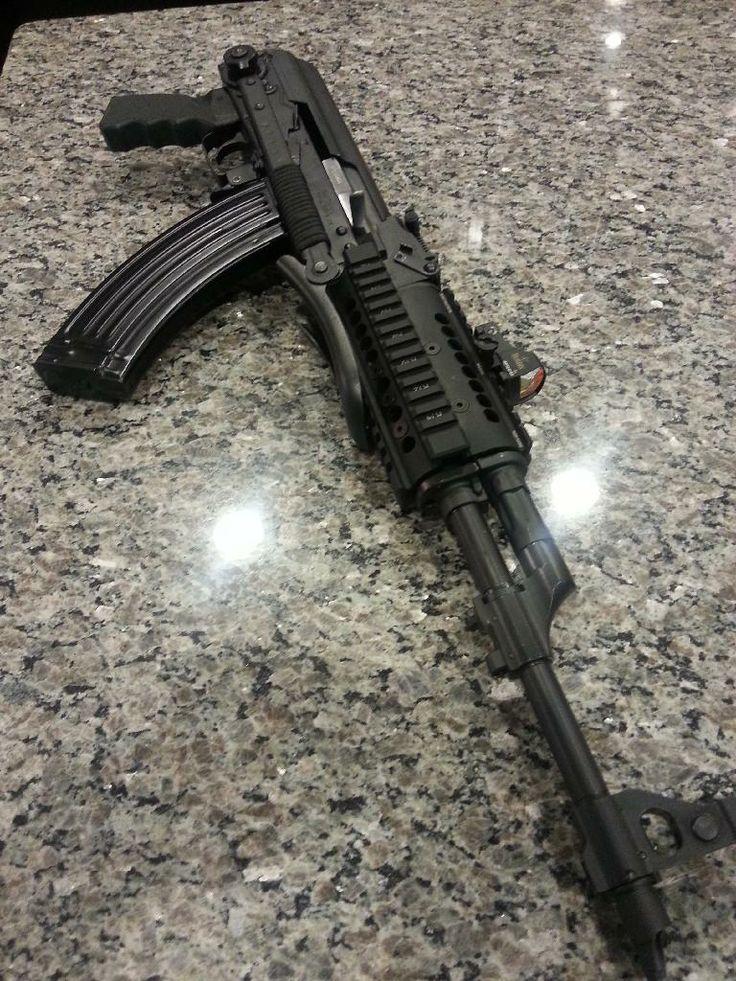 Yugo Zastava AK47 Underfolder, paracord wrapped, Midwest Industries quad rail, Burris Fastfire II