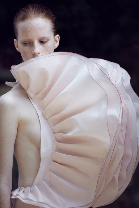 Experimental dress design with sculptural 3D pleated & layered construct resembling delicate petals; wearable art // Maryam Kordbacheh