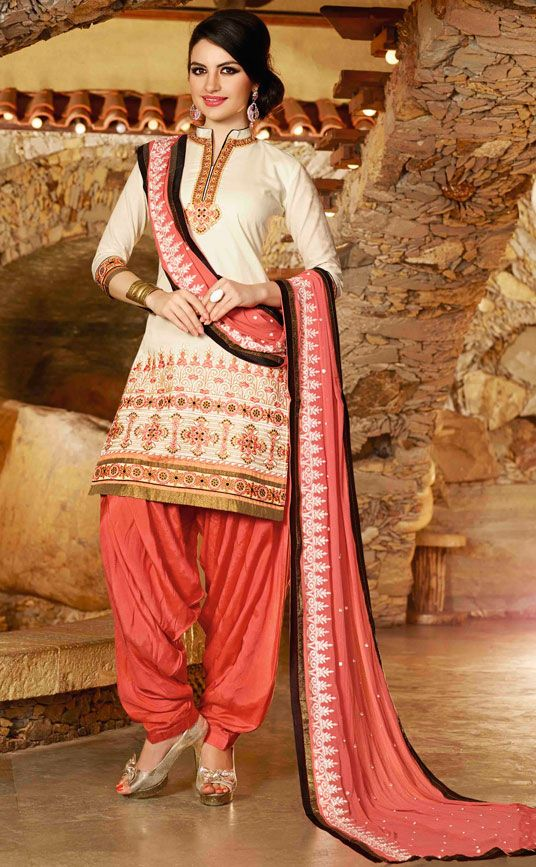 USD 31.68 Cream Cotton Embroidery Patiala Suit 44849